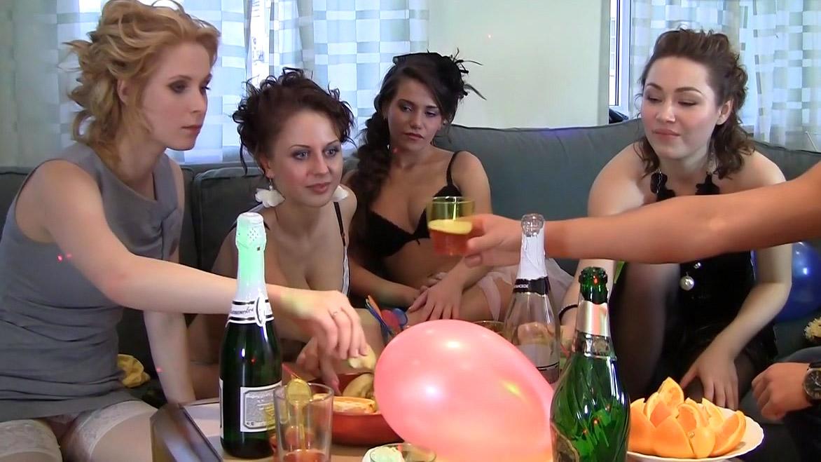 Hot girlfriends partying in shower