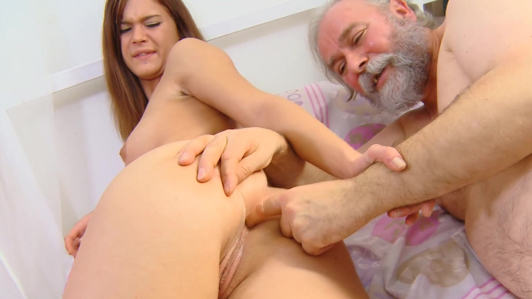 Teen finger fucked by old