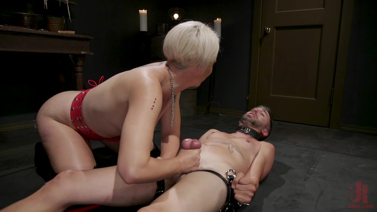 Busty dominant babe lest her man sex slave fuck her pussy